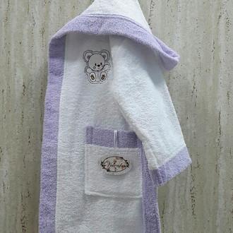 Халат детский Volenka МИШКА хлопковая махра (белый+светло-сиреневый)