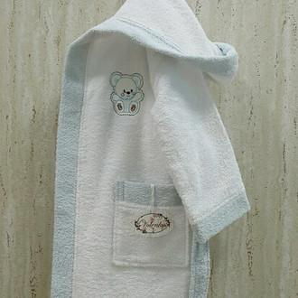 Халат детский Volenka МИШКА хлопковая махра (белый+светло-голубой)