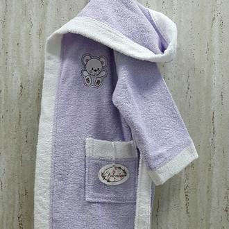 Халат детский Volenka МИШКА хлопковая махра (светло-сиреневый+белый)