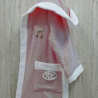 Халат детский Volenka МИШКА хлопковая махра (тёмно-розовый+белый)