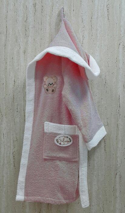 Халат детский Volenka МИШКА хлопковая махра (тёмно-розовый+белый) 6-8 лет, фото, фотография