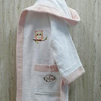 Халат детский Volenka СОВЁНОК хлопковая махра (белый+светло-розовый)