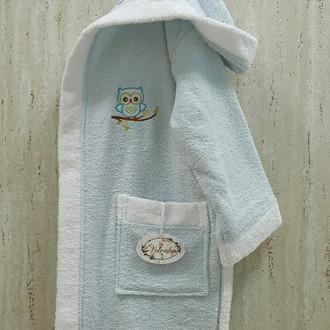 Халат детский Volenka СОВЁНОК хлопковая махра (светло-голубой+белый)