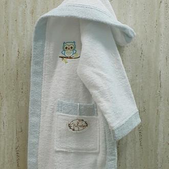 Халат детский Volenka СОВЁНОК хлопковая махра (белый+светло-голубой)