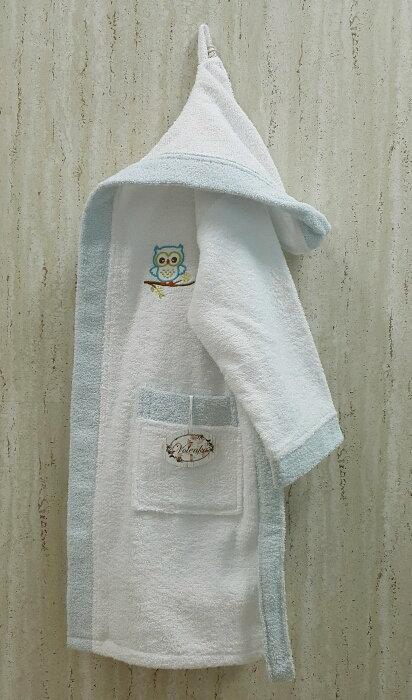 Халат детский Volenka СОВЁНОК хлопковая махра (белый+светло-голубой) 6-8 лет, фото, фотография