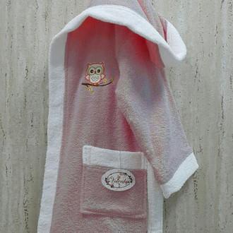Халат детский Volenka СОВЁНОК хлопковая махра (тёмно-розовый+белый)