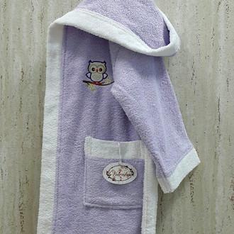 Халат детский Volenka СОВЁНОК хлопковая махра (светло-сиреневый+белый)
