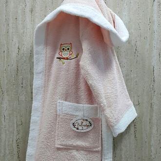 Халат детский Volenka СОВЁНОК хлопковая махра (светло-розовый+белый)