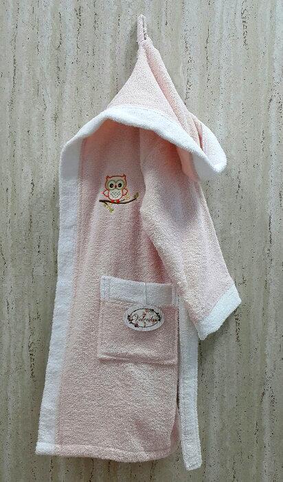 Халат детский Volenka СОВЁНОК хлопковая махра (светло-розовый+белый) 10-12 лет, фото, фотография
