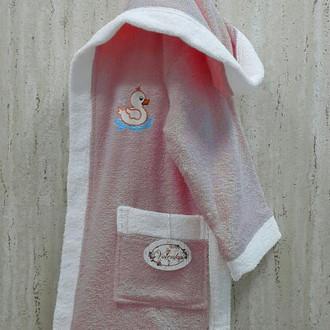 Халат детский Volenka УТЁНОК хлопковая махра (тёмно-розовый+белый)
