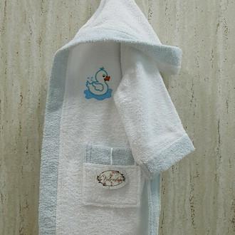 Халат детский Volenka УТЁНОК хлопковая махра белый+светло-голубой