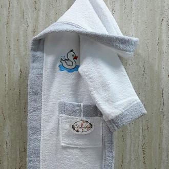 Халат детский Volenka УТЁНОК хлопковая махра (белый+светло-серый)