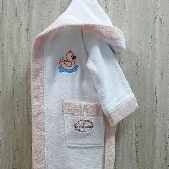 Халат детский Volenka УТЁНОК хлопковая махра белый+светло-розовый