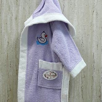 Халат детский Volenka УТЁНОК хлопковая махра (светло-сиреневый+белый)