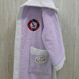 Халат детский Volenka ЮНГА хлопковая махра (светло-сиреневый+белый)
