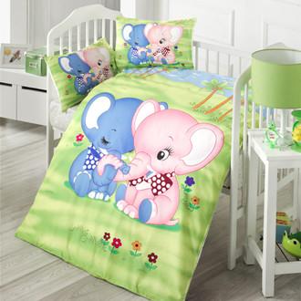 Комплект детского постельного белья в кроватку Victoria BABY ELEPHANT хлопковый ранфорс