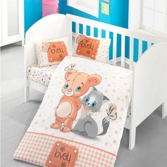 Комплект детского постельного белья в кроватку Victoria BABY MOUSE AND CAT хлопковый ранфорс