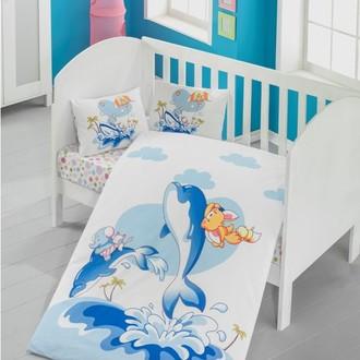 Комплект детского постельного белья в кроватку Victoria BABY OCEAN хлопковый ранфорс