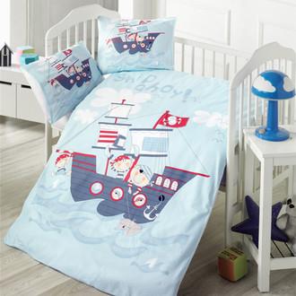 Комплект детского постельного белья в кроватку Victoria BABY SHIP хлопковый ранфорс