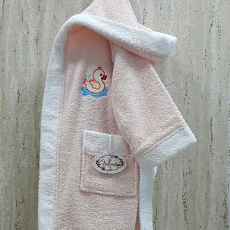 Халат детский Volenka УТЁНОК хлопковая махра светло-розовый+белый