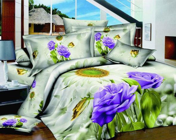 Комплект постельного белья Tango TS-824 хлопковый сатин евро (4 нав.), фото, фотография