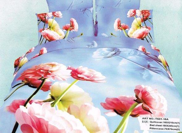 Комплект постельного белья Tango TS-16A хлопковый сатин 1,5 спальный (нав. 70*70 см), фото, фотография