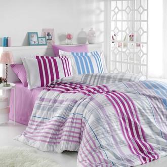 Комплект постельного белья Hobby Home Collection STRIPE хлопковый поплин (фуксия)