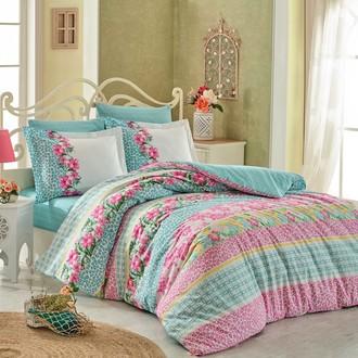 Комплект постельного белья Hobby Home Collection SCARLET хлопковый поплин (бирюзовый)
