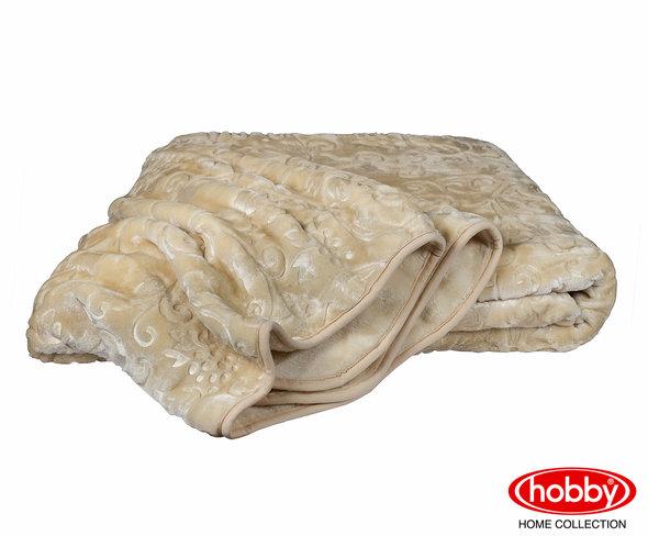 Покрывало Hobby Home Collection YELIZAVETA велсофт бежевый 155х220, фото, фотография