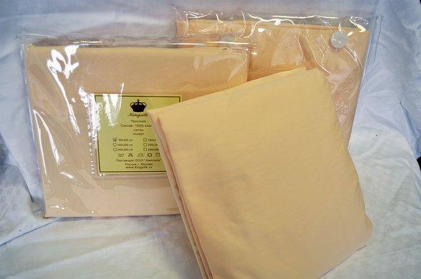 Простынь на резинке Kingsilk хлопковый сатин (кремовый) 160*200+30, фото, фотография