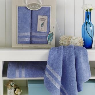 Набор полотенец Karna PETEK махра хлопок 50*90, 70*140 коробка (голубой)