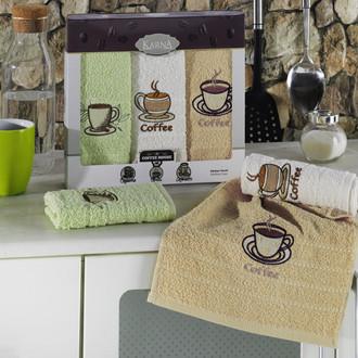 Подарочный набор кухонных полотенец Karna BARISTA хлопковая махра