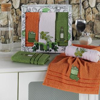 Подарочный набор кухонных полотенец Karna OLIVE хлопковая махра
