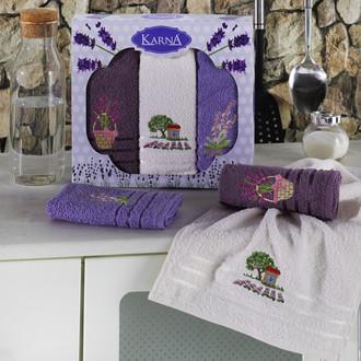Подарочный набор кухонных полотенец Karna LAVITA хлопковая махра (V2)