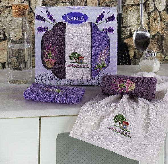 Подарочный набор кухонных полотенец Karna LAVITA хлопковая махра V2, фото, фотография