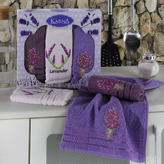 Подарочный набор кухонных полотенец Karna LAVITA хлопковая махра (V1)