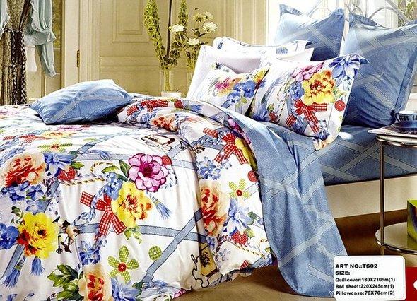 Комплект постельного белья Tango TS-949/2 хлопковый сатин евро (2 нав.), фото, фотография