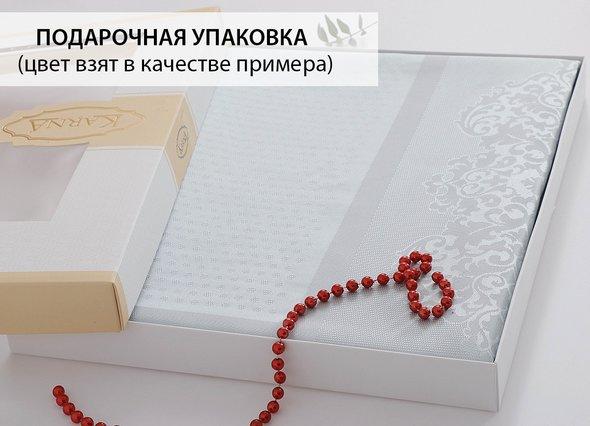 Скатерть прямоугольная Karna CARAMEL жаккард изумрудный 160*220, фото, фотография