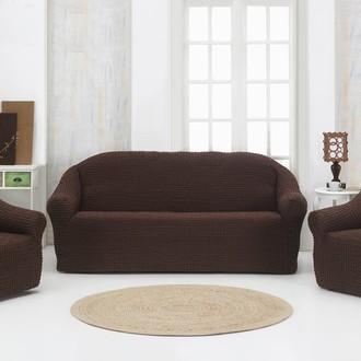 Набор чехлов без юбки на трёхместный диван и кресла 2 шт. Karna коричневый