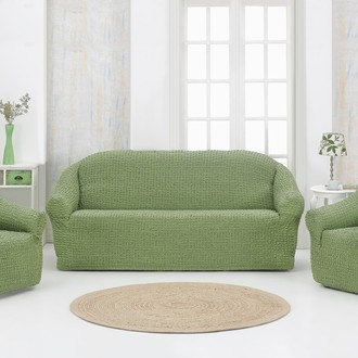 Набор чехлов без юбки на трёхместный диван и кресла (2 шт.) Karna (зелёный)