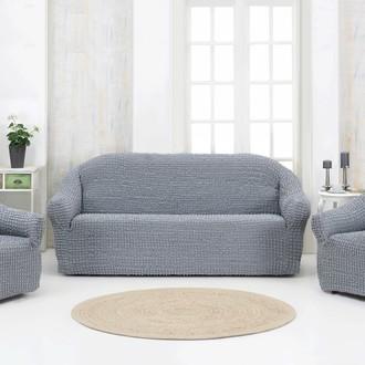 Набор чехлов без юбки на трёхместный диван и кресла (2 шт.) Karna (серый)