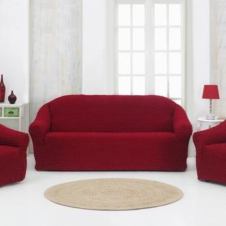 Набор чехлов без юбки на трёхместный диван и кресла (2 шт.) Karna (бордовый)