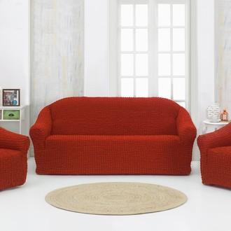 Набор чехлов без юбки на трёхместный диван и кресла 2 шт. Karna кирпичный