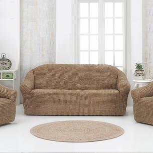 Набор чехлов без юбки на трёхместный диван и кресла 2 шт. Karna кофейный