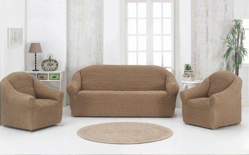 Набор чехлов без юбки на трёхместный диван и кресла 2 шт. Karna кофейный, фото, фотография