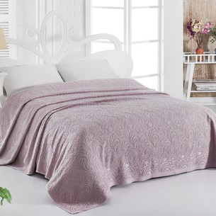Махровая простынь-покрывало для укрывания Karna ESRA хлопок грязно-розовый 200х220