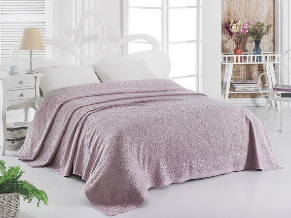 Махровая простынь-покрывало для укрывания Karna ESRA хлопок (грязно-розовый) 200*220, фото, фотография