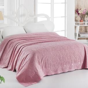 Махровая простынь-покрывало для укрывания Karna ESRA хлопок розовый 160х220
