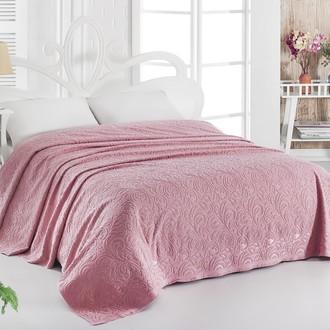 Махровая простынь-покрывало для укрывания Karna ESRA хлопок розовый