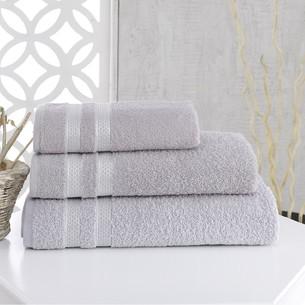 Полотенце для ванной Karna PETEK хлопковая махра серый 100х150